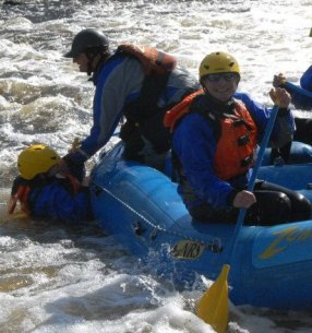 Public Matters rafting trip; James Ostis and Jen Myers from PM '13 featured